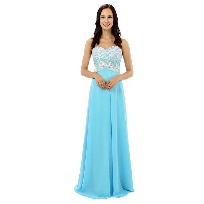 Real Model Sweetheart Sky Blue Prom Dress Long Evening Party Formal Women Gown 2017 Crystal Beading