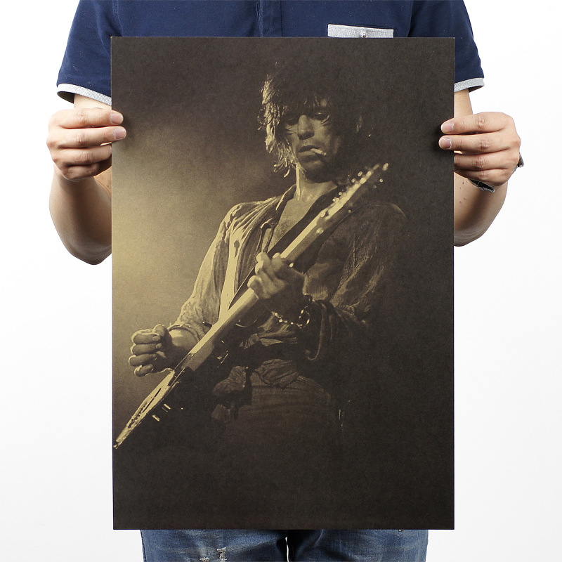 Classical Rock Band The Rolling Stones Guitarist Vintage Poster Cafe Pub Livingroom Bedroom Decoration Stickers Home Art Mural image