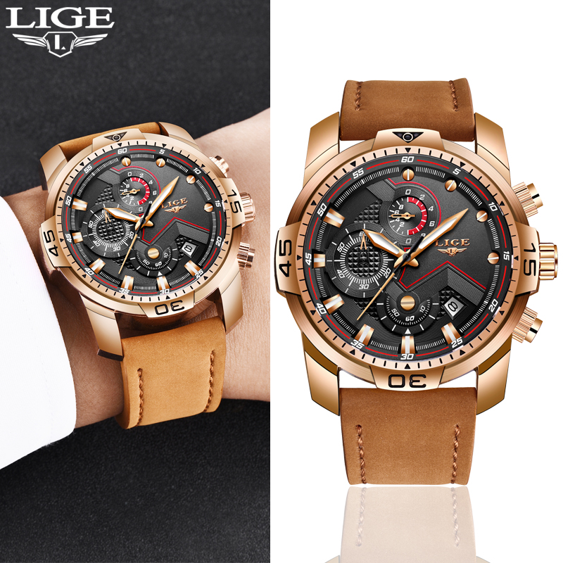 Relogio Masculino LIGE Mens Watches Top Brand Luxury Military Sport Watch Leather Waterproof Wristwatch Date Watch Leather clock
