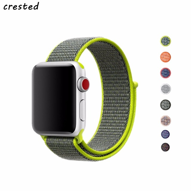 CRESTED sport loop for apple watch band 42mm 38mm iwatch 3 2 1 wrist band Bracelet Breathable Lightweight weave nylon loop strap