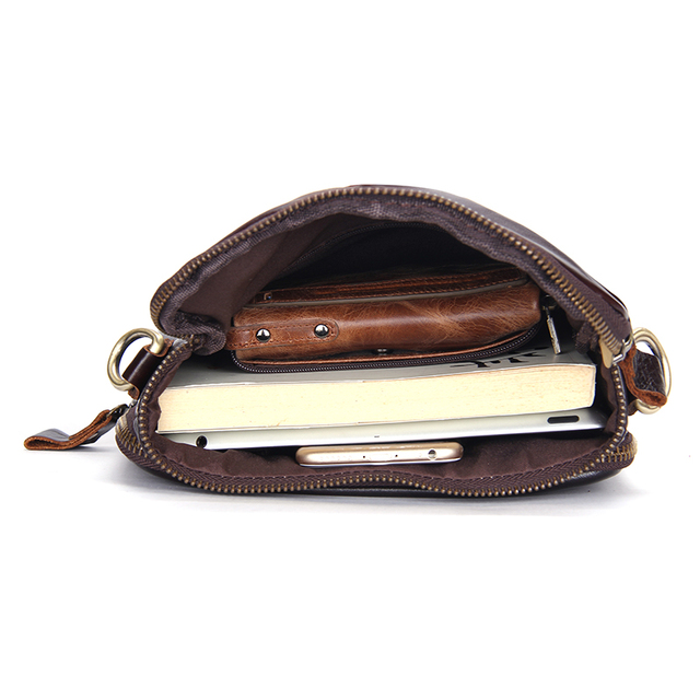 CONTACT'S HOT!! 2019 Genuine Leather Bags Men High Quality Messenger Bags Small Travel Dark Brown Crossbody Shoulder Bag For Men 3