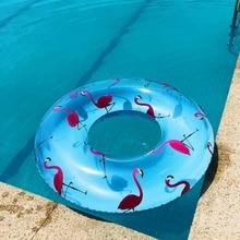 120cm Transparent Flamingo Swim Ring Adult Giant Pool floats Inflatable flamingo lifebuoy Circle Floating Child water toys