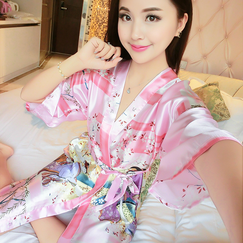 New Robe Sleepwear Satin Nightgown Print Floral Kimono Bathrobe Gown Womens Casual Home Clothes Sexy Intimate Lingerie Pajamas