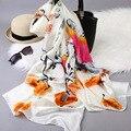 2017 Quatro estações de impressão floral cachecol grande alongada seaside beach qualidade toalha Cachecol Xale protetor solar pashmina mulheres WJ111