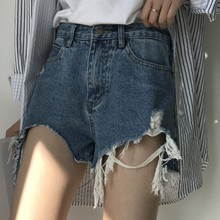 Fashionable Summer Loose Washing Frayed Denim Shorts Women High Waist Shorts BFJeans Hole Ladies Short Pants stylish destroy wash frayed low waist denim women s shorts