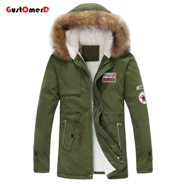GustOmerD Fur Collar Long Style Lovers Winter Jacket Casual Slim Fit Army Winter Coat Men Warm Parka Men Size M-XXXL