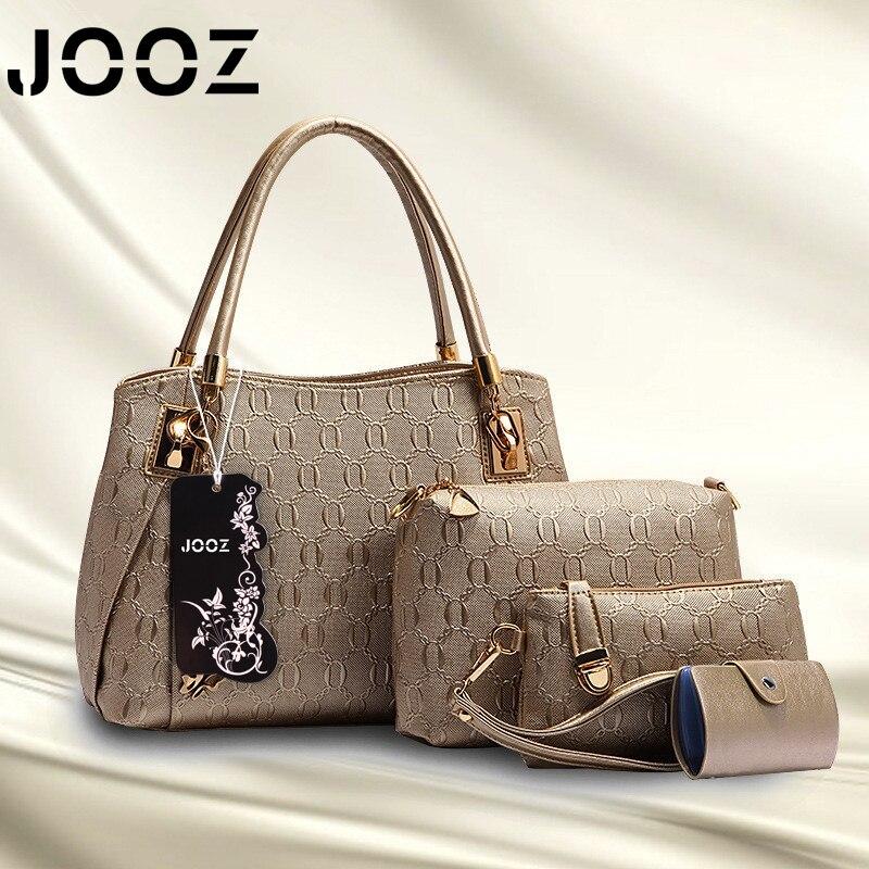 ФОТО JOOZ Brand 4 Pcs Set Fashion Satchels Embossing Female Bag Lady PU Leather Composite Bags Women Shoulder Crossbody Bag Handbag