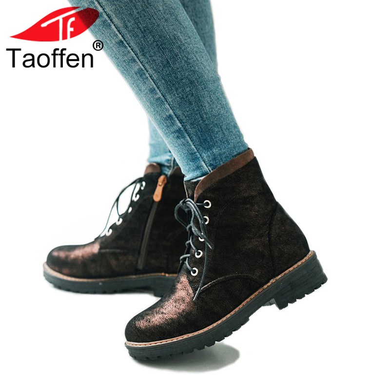 цена TAOFFEN Size 34-43 Cross Strap Women Ankle Boots Round Toe Zipper Winter Shoes Women Thick Heels Botas Office Lady Footwear