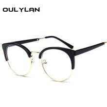 Oulylan оптические очки для мужчин и женщин, прозрачные оправы для очков, простые линзы, модные женские Металлические Пластиковые оправы для очков кошачий глаз