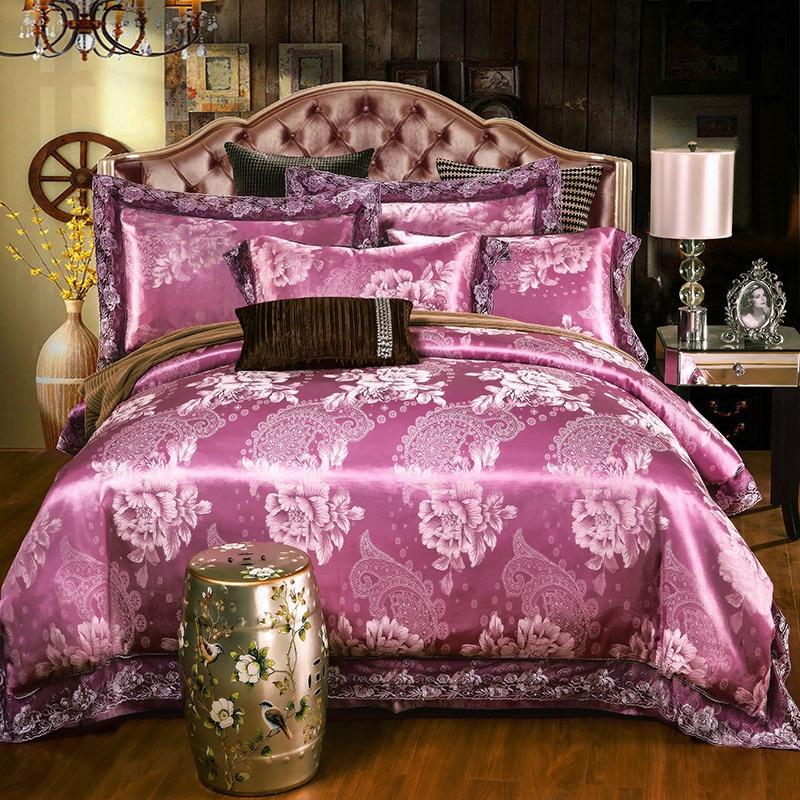 Fshion Luxury 100% Cotton Lace 4pcs Set Bedding Set Quilt