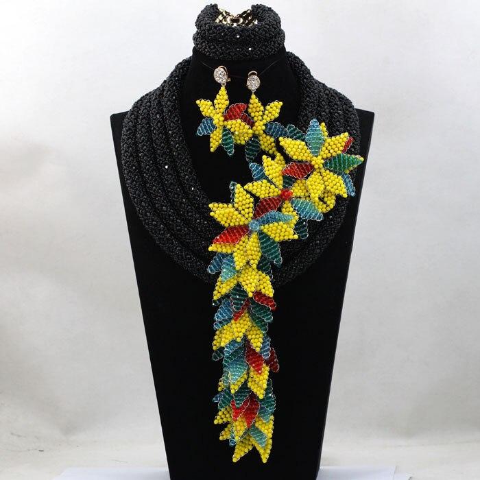 Мода невесты Свадебные аксессуары цветы Африканский Бусины Кружево Ювелирные наборы заявление кулон Цепочки и ожерелья комплект бесплатн