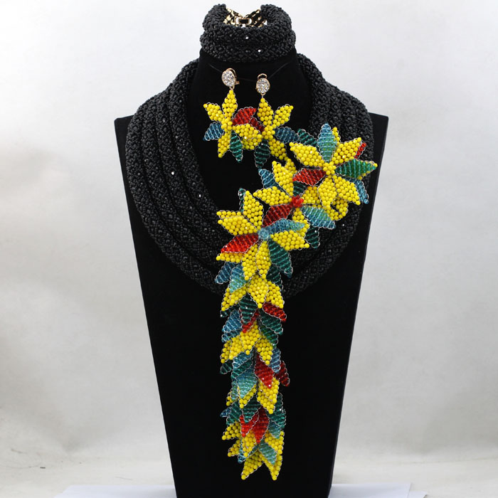 Trendy Brides Wedding Accessories Flowers African Beads Lace Jewelry Sets Statement Pendant Necklace Set Free Shipping ABL497Trendy Brides Wedding Accessories Flowers African Beads Lace Jewelry Sets Statement Pendant Necklace Set Free Shipping ABL497