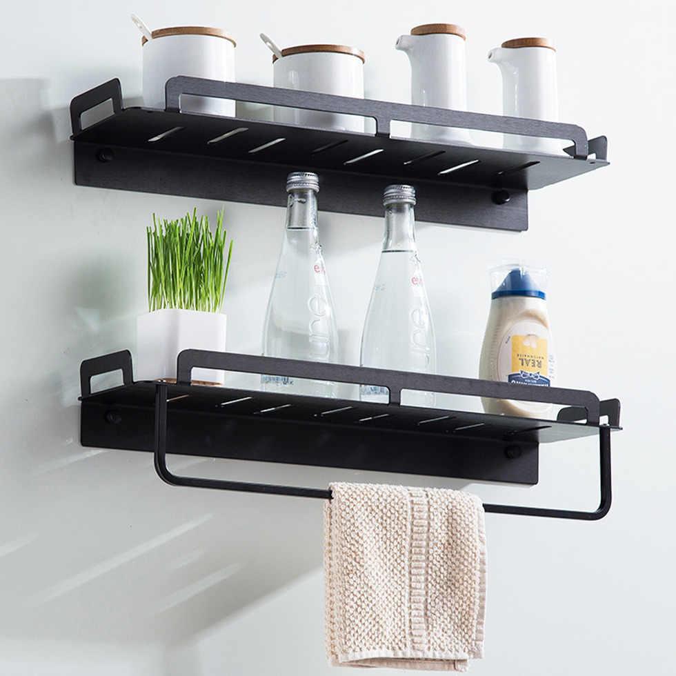 Wyposażenie łazienkowe zestaw wisiorków czarna półka koszyk prysznicowy aluminiowy stojak z wieszakiem na ręczniki suszarka do włosów akcesoria do kąpieli przechowywanie
