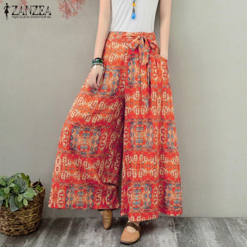 ZANZEA Women Bohemian   Wide     Leg     Pants   Autumn Casual Floral Printed   Pants   Elastic Waist Trousers Loose Bow Tie Flare Pantalon 5XL