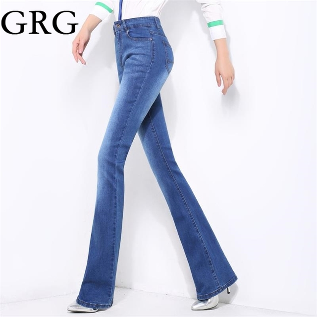 fb0eeeb993343 Free Shipping High Quality Spring Autumn Midweight Women s Slim Mid Waist  Boot Cut Jeans Girls Bell Bottom Trousers Flares Pants