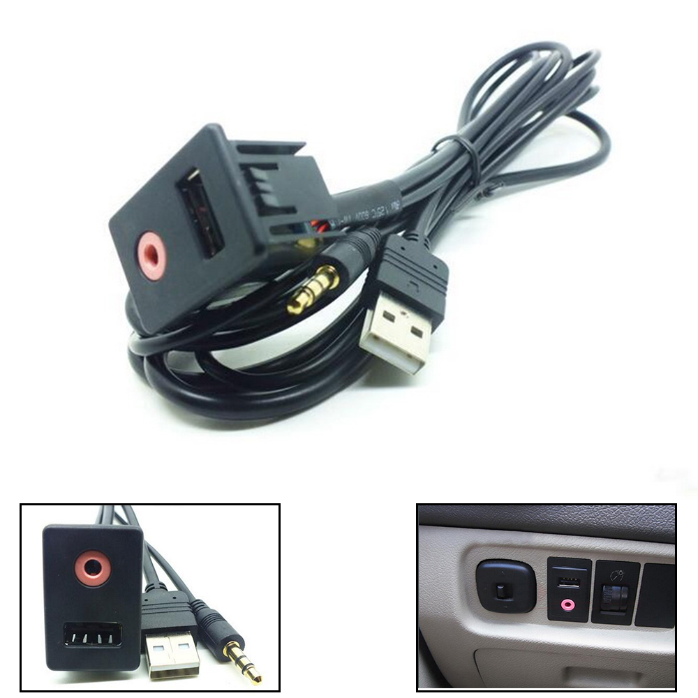 AUX Flush Mount USB Headphone Jack Cable Male Mounting 1