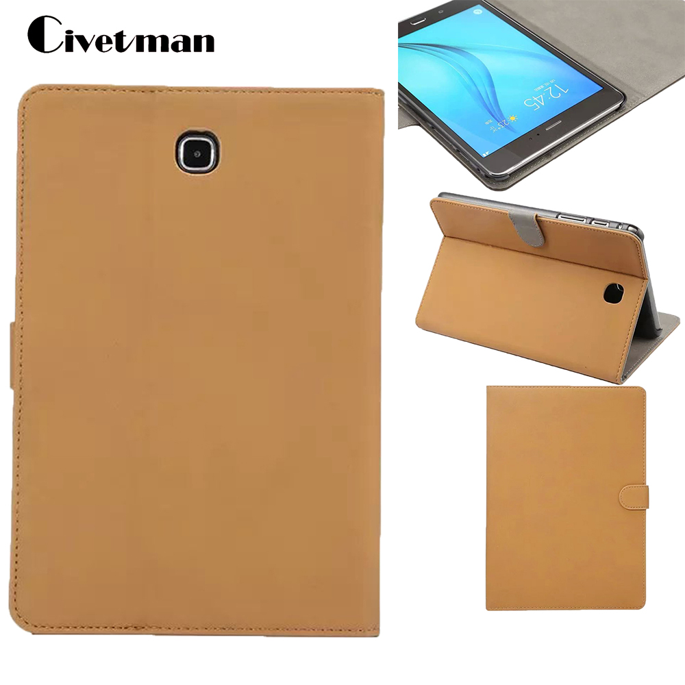 Civetman For Samsung T350 Leather Case retro matte Folio PU Leather Stand Cover for Samsung Galaxy