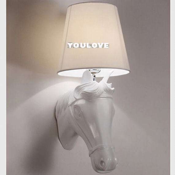 European Horse Wall Lamps White/Black Horse Wall Lights Fixture Home Indoor Foyer Bedroom Cafes Pub Coffee Shops Restaurant Lamp