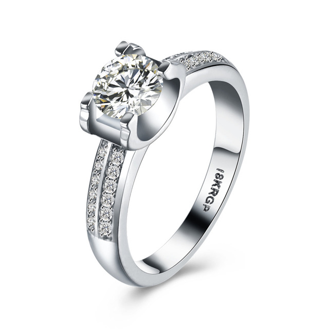 JEXXI Charm Design Promise Wedding Rings Full Shiny CZ Cubic