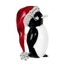 1PCS Carino Kawaii Animale Pinguino Spilla in Cristallo Di Natale Archi Moda Piccola Spilla Gioielli(China)