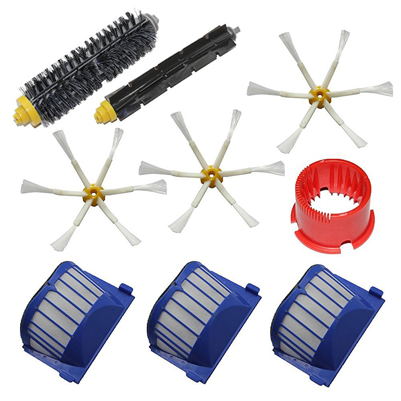Side Brush,Bristle Flexible Beater Brush AeroVac Filter kit for iRobot Roomba 600 610 620 625 630 650 robot vacuum cleanr parts 2 brush 3 side brush 3 hepa filter 1 cleaning cylinder robot vacuum cleaner 610 611 627 620 630 650 replacement parts