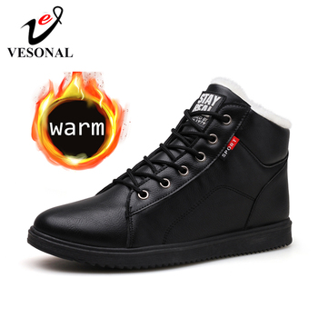 VESONAL 2019 Autumn Winter Leather Ankle Snow Men Boots Shoes With Fur Plush Warm Male Casual Boot Sneakers