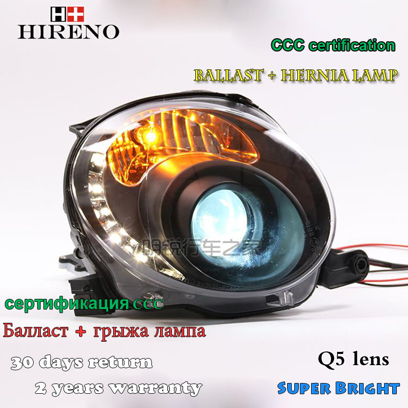 Hireno Headlamp for 2007-2012 Fiat 500 Headlight Assembly LED DRL Angel Lens Double Beam HID Xenon 2pcs hireno headlamp for cadillac xt5 2016 2018 headlight headlight assembly led drl angel lens double beam hid xenon 2pcs