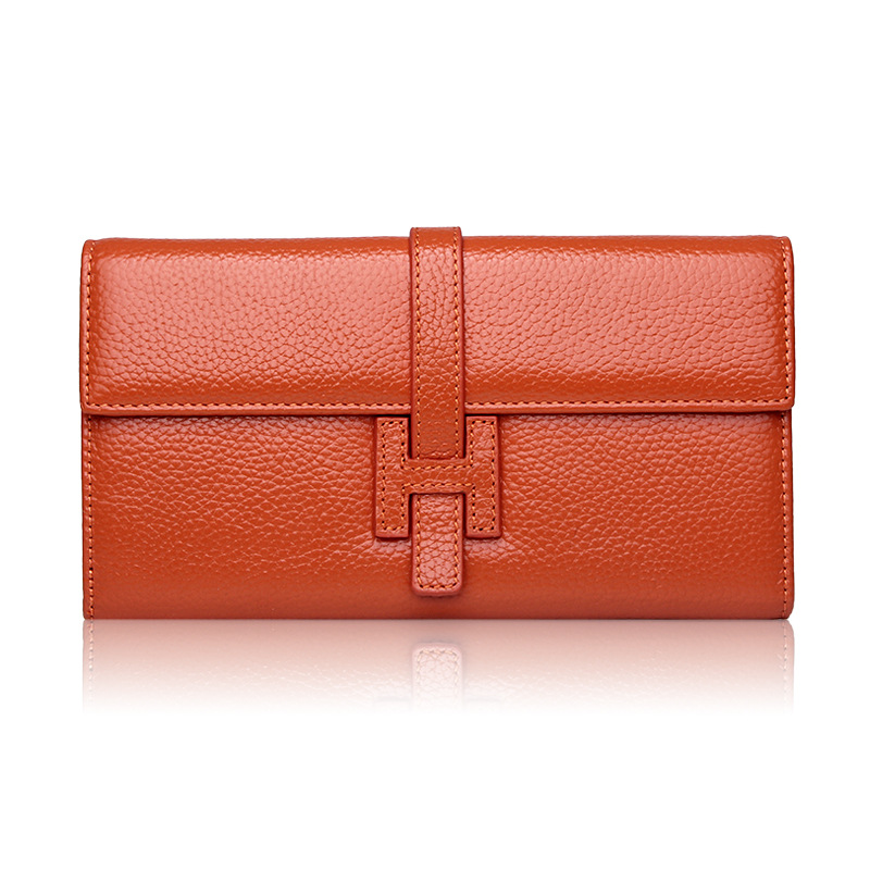цена ONEFULL wallet women genuine leather ladies purse head layer cowhide long H buckle lady hand bag wallets brand high quality онлайн в 2017 году