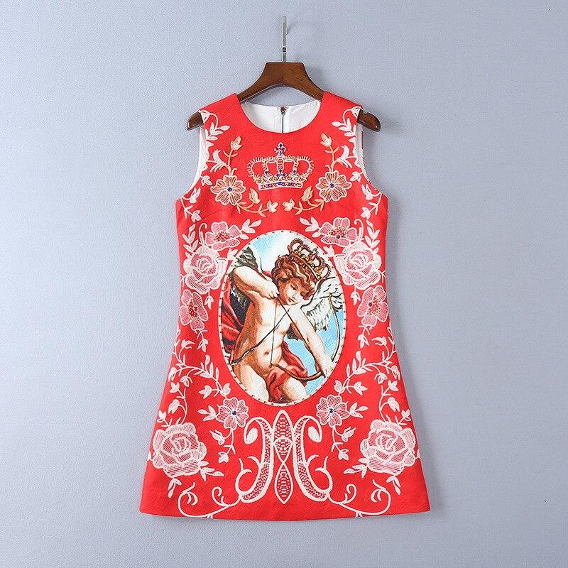 2018 D'été O Cou Sans Manches Rouge de Style coupe-Papier Imprimer Perles Lâche Femmes Robe Marque Même Style Robes De Festa 4217
