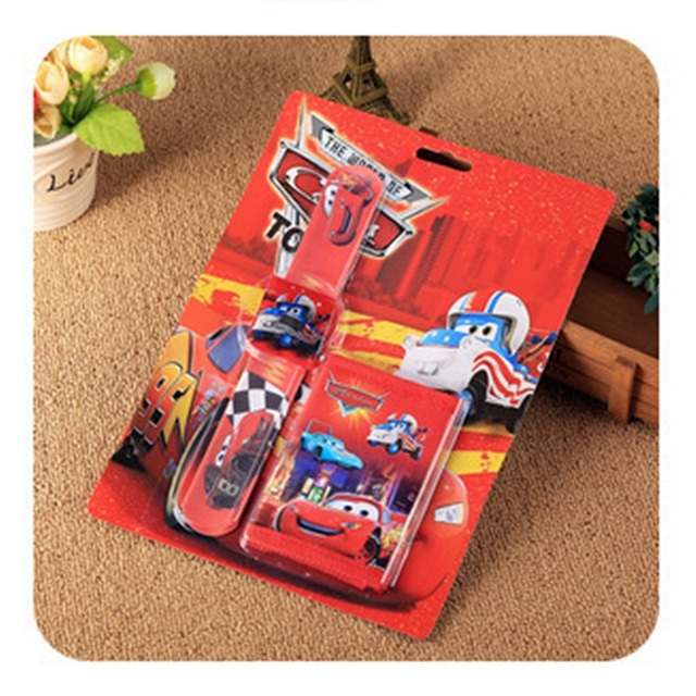 ילדי Cartoon רכב ארנק טפיחת שעון סט ספיידרמן מיקי שעונים ילדה או ילד יום הולדת מתנות דיגיטלי עור שעון