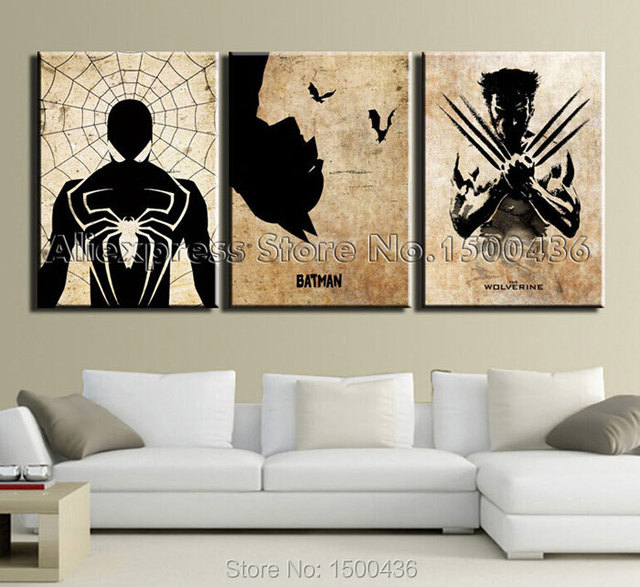 Comic Book Hero Spider Man,Batman,Wolverine Movie Poster For Wall Art  Abstract