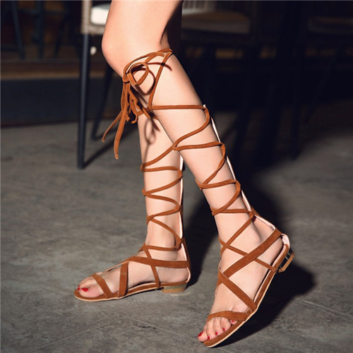 2131f87864b Rome Design 2017 Summer Woman Knee High Gladiator Sandals Female Suede Low  Heel Cross-tied Gladiator Shoes big Size 11 12 13 14