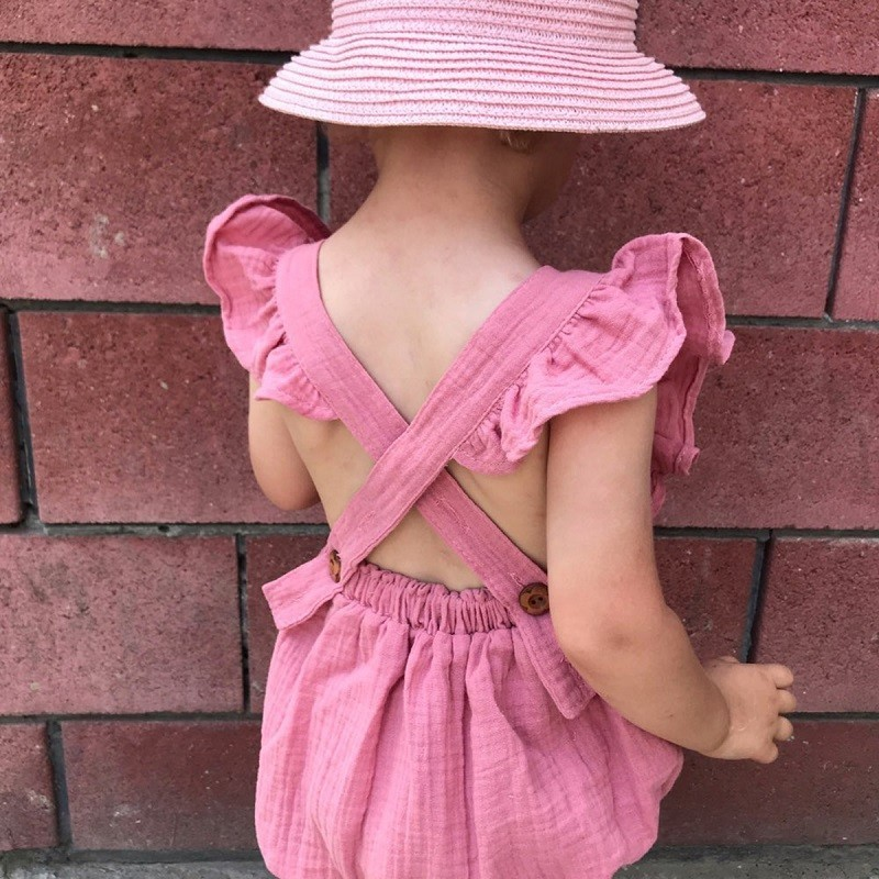 HTB1MniGe.CF3KVjSZJnq6znHFXaI Organic Cotton Baby Girl Clothes Summer New Double Gauze Kids Ruffle Romper Jumpsuit Headband Dusty Pink Playsuit For Newborn 3M