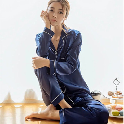 Daeyard Autumn Winter Silk Satin Pajama Set Women Fashion Solid Pyjamas Long Sleeve Sleepwear Sexy Night Suit Plus Size Homewear