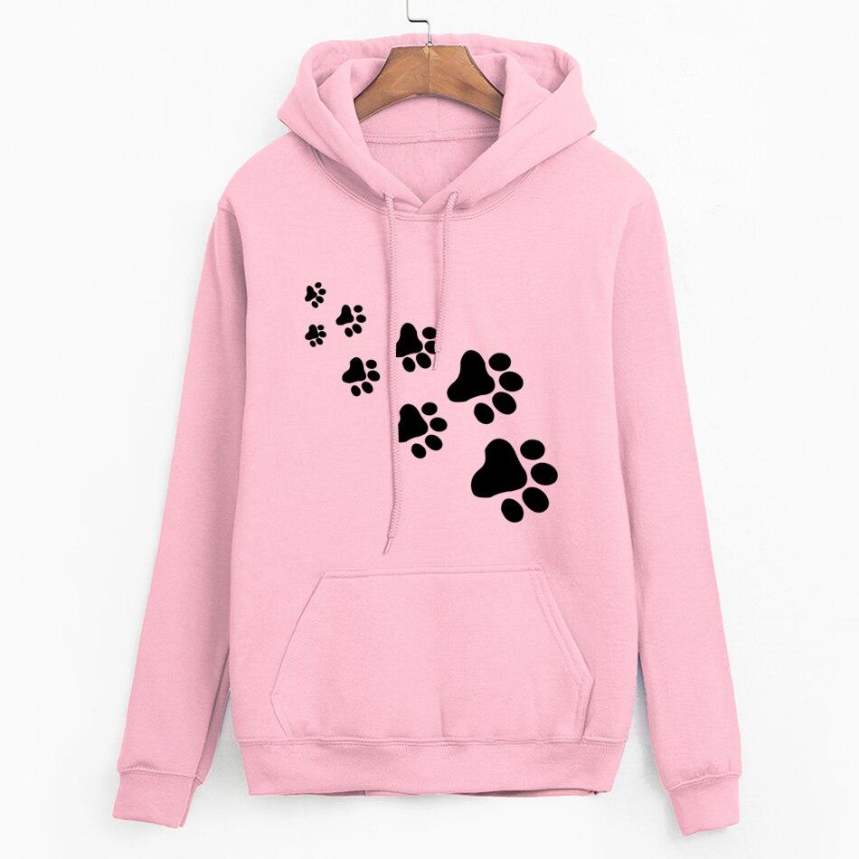 White Pink Brand Tracksuits Femme Casual 2019 Kawaii Cat Paws Print Hoodies For Women Fleece Autumn Winter Sweatshirt Pullovers