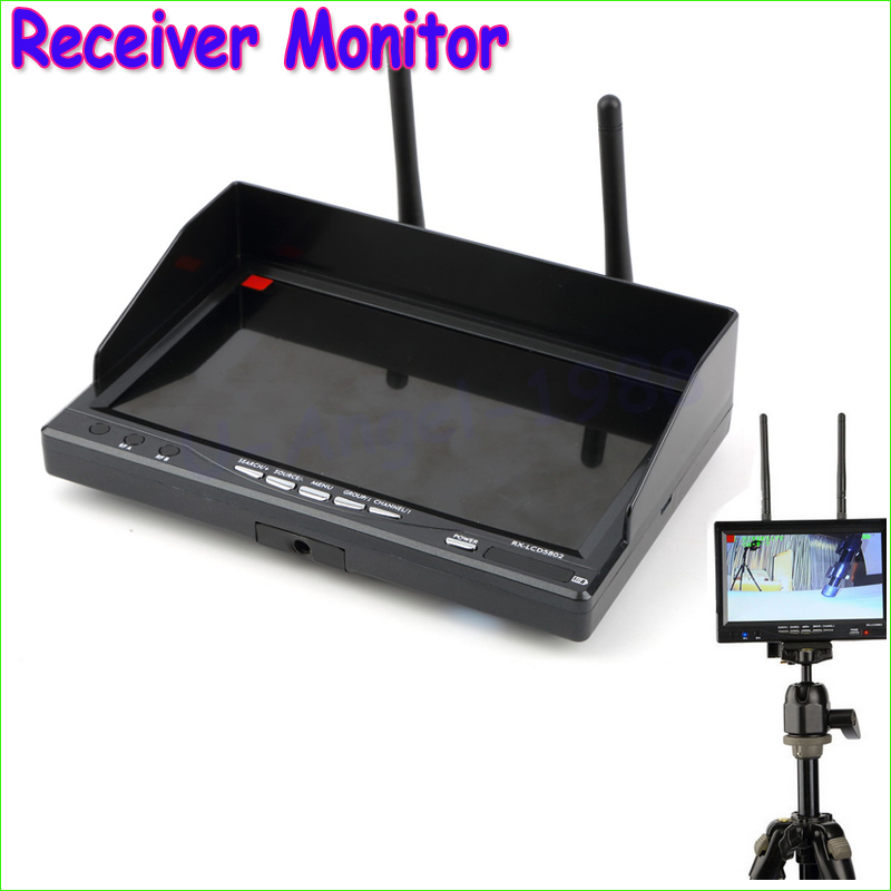 Wholesale 1pcs New RX LCD 5802 5.8GHz LCD Diversity Receiver 7 Inch Monitor Built-in Battery Drop Freeship