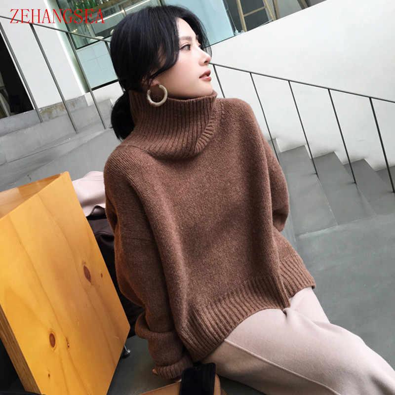 Zehangsea-가을, 겨울 순수 캐시미어 스웨터 여성 19 새로운 느슨한 높은 칼라 단색 풀오버 간단한 여성 의류