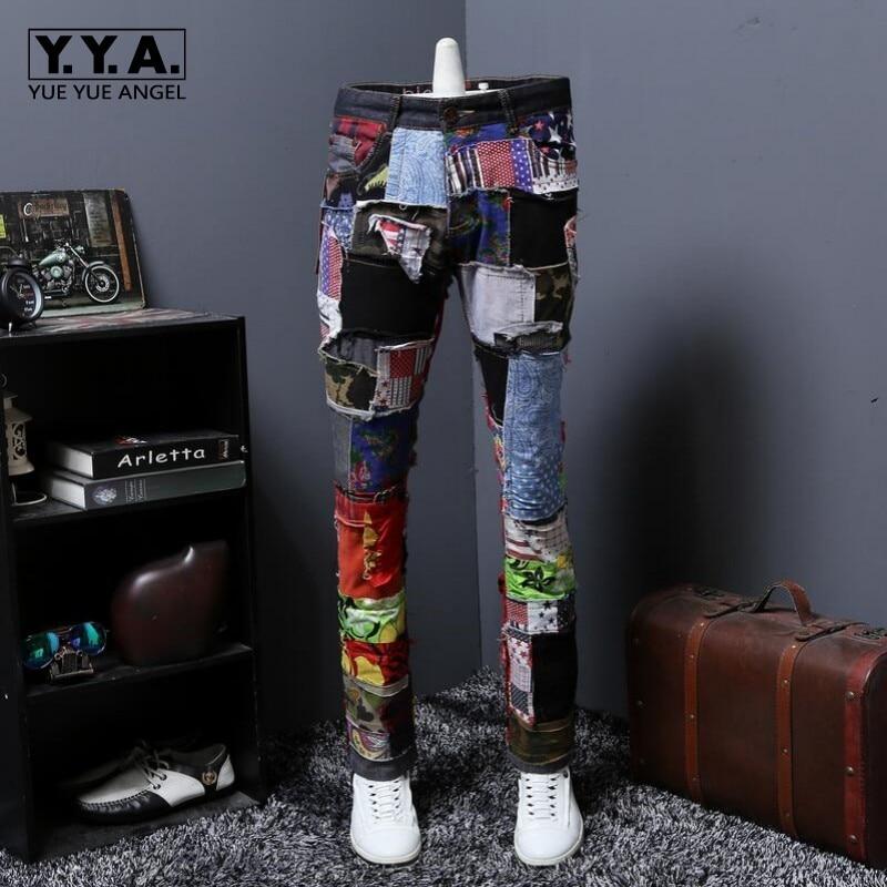Spring New Fashion Mens Straight Distressed Ripped Hole Jeans Skinny Slim Denim Hip Hop Swag 2018 Street Denim Jeans Size 28-38
