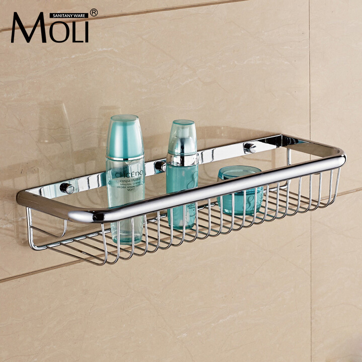Wall mounted bathroom shelf copper chrome single layer shower storage basket rectangle bath shelves bathroom accessories chrome stainless steel shelf with hook bracket shelves golden basket bathroom shower storage bathroom accessories