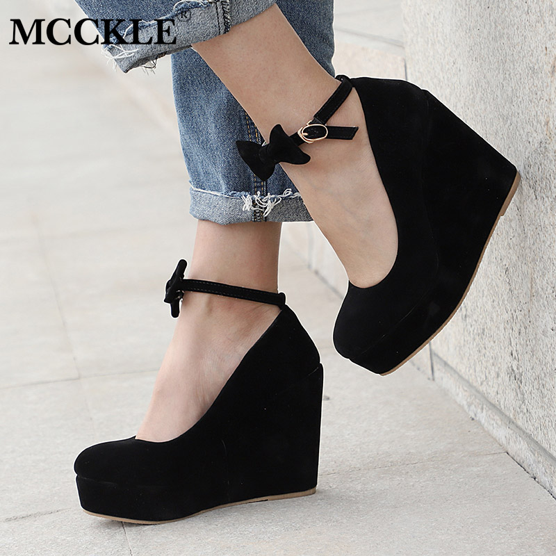 MCCKLE Women High Heels Shoes Plus Size Platform Wedges Female Pumps Elegant Flock Buckle Bowtie Ankle Strap Party Wedding Shoe trendy women s pumps with flock and ankle strap design
