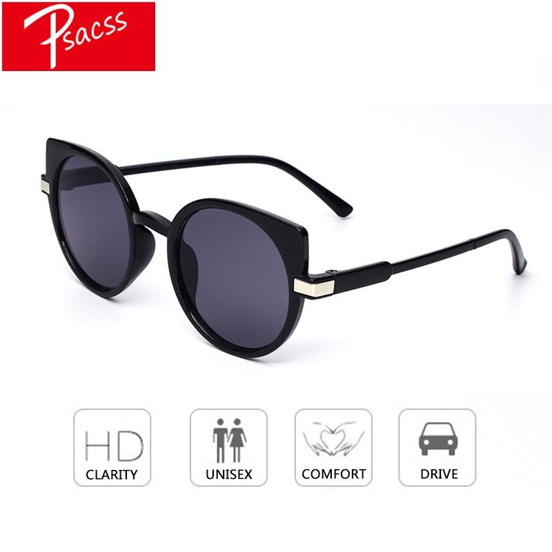 Psacss NEW Vintage Cat Eye Sunglasses Women HD Round Cute Sun Glasses Female High Quality Eyewear oculos de sol feminino Shades