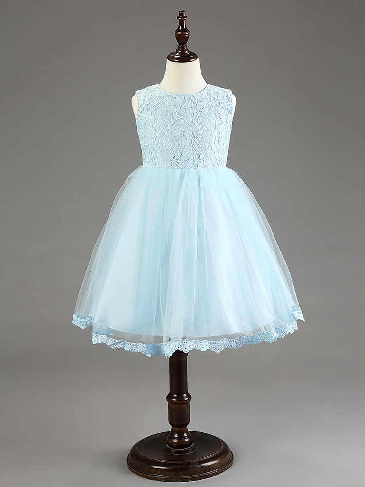 (3-18M is made of cotton lining) fashion lace big bow formal baby wedding dress party ice light blue flower girl dresses