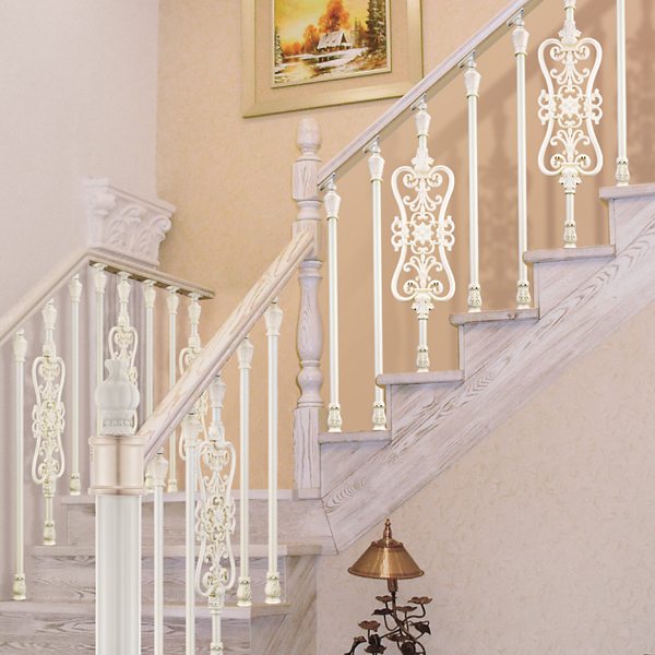 Pearl White Plating Beautiful Flowers Carving Design Classical Aluminum  Stair Railing, Exquisite Workmanship Fence