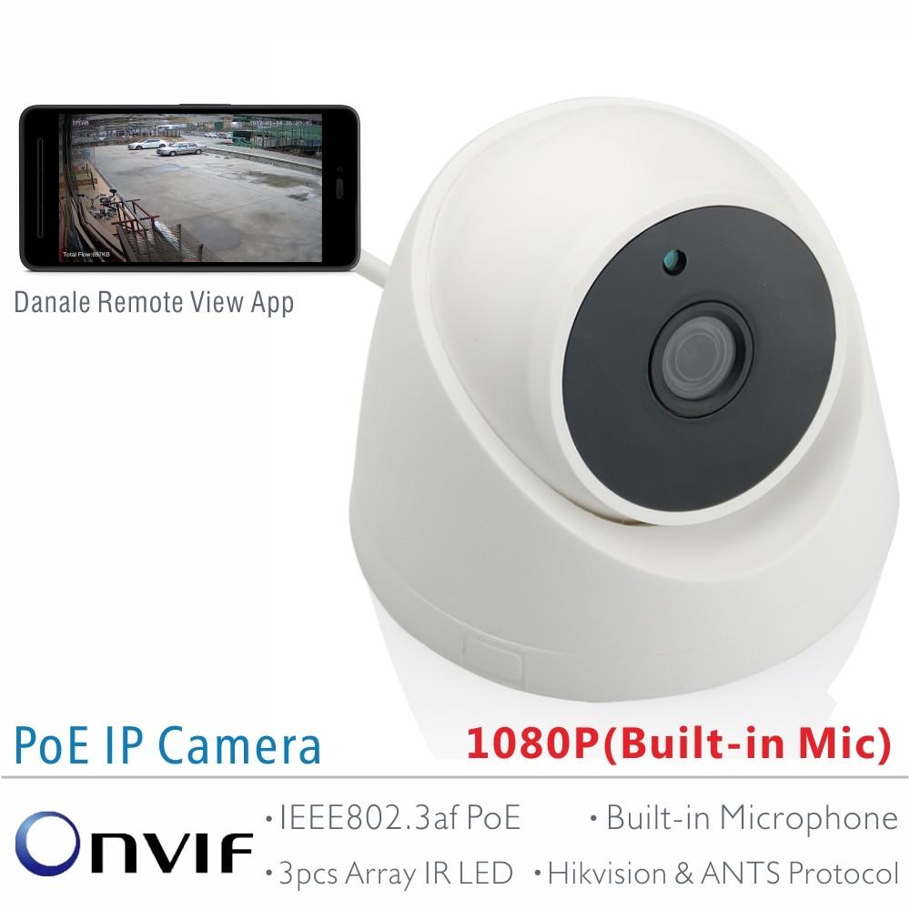 bilder für Ameisen full hd 1080 p sony imx323 2,0 mega pixel onvif 2,42 innen PoE Ip-kamera mit Breitem Ansichtwinkel Objektiv und Integriertem Mikrofon