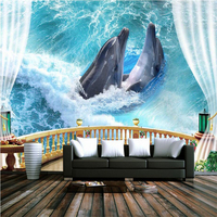 High Quality Custom Wallpapers 3D Wall Murals Photo Wallpapers Seaside Dolphin Murals for Living Room Bedrooms Home Decor Paper
