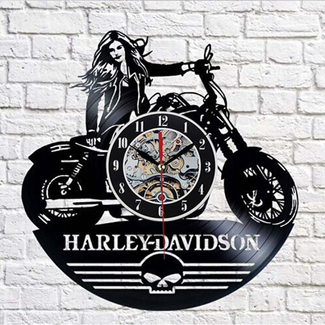 2017 Cool Design CD Vinyl Record Wall Clock Modern Harley-dayidson Theme Art Watch Classic Clock Relogio Parede