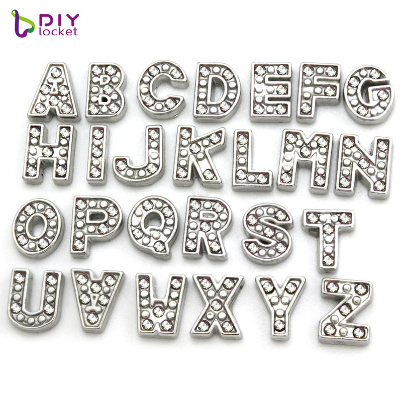 10pcs Sparkling Crystal A-Z Alphabet Letter Floating Charms Initial Locket Charms Pendants For Floating Locket LSFC113