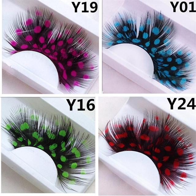 1 pairs Yellow Feather 3D Fake Eyelash Halloween Natural Stage Art Costume party Exaggerated Eyelashes Makeup Tools Y04 3
