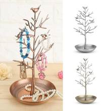 Antique Outdoor Bird Tree Jewelry Display Stand Earring Necklace Bracelet Show Rack Tower Holder Tabletop Display Jewelry holder(China)