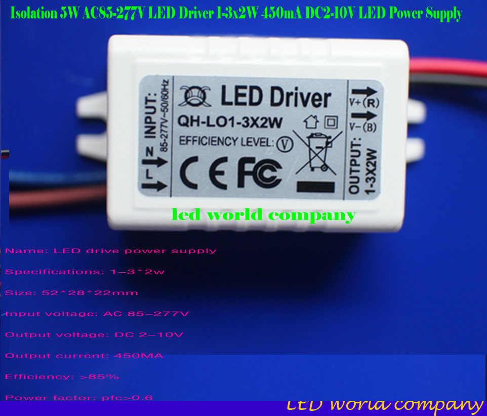 Frete Grátis 1-3x2W 450mA Constante LED Driver Atual 3-10 V 2 W 4 W 6 W 450 mA Lâmpada COB Iluminação da fonte de Alimentação AC-DC Externo